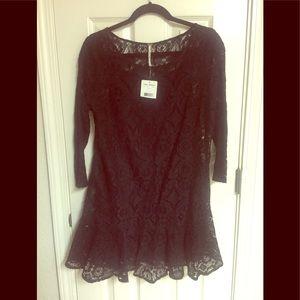 NWT Free People Black Lacy Dress w/camisole sz. M